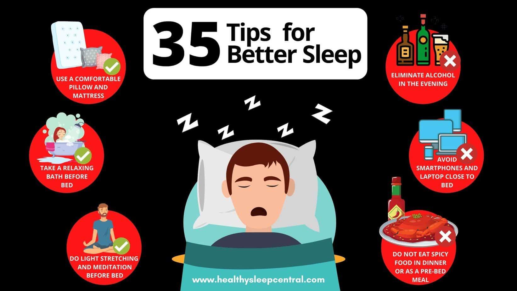 35 tips for better sleep By Healthy Sleep Central